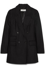 MAX MARA | Max Mara - Double-breasted Pinstriped Wool And Cashmere-blend Blazer - Black | Clouty