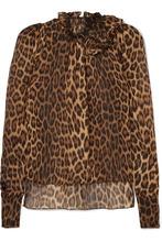 Magda Butrym | Magda Butrym - Canazei Ruffle-trimmed Leopard-print Silk-chiffon Blouse - Leopard print | Clouty