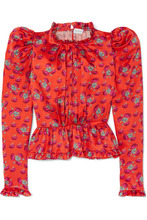 Magda Butrym | Magda Butrym - Normandy Ruffle-trimmed Floral-print Silk-satin Peplum Blouse - Bright orange | Clouty