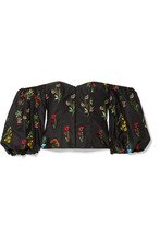 Caroline Constas   Caroline Constas - Belen Off-the-shoulder Embroidered Poplin Blouse - Black   Clouty