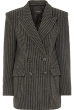 Isabel Marant | Isabel Marant - Jaxen Double-breasted Striped Wool-blend Blazer - Gray | Clouty
