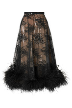 CHRISTOPHER KANE   Christopher Kane - Feather-trimmed Lace And Pvc Skirt - Black   Clouty