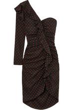 Veronica Beard | Veronica Beard - Leona One-shoulder Ruffled Ruched Polka-dot Silk Dress - Black | Clouty