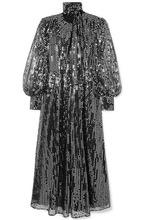 MSGM | MSGM - Sequined Chiffon Maxi Dress - Silver | Clouty