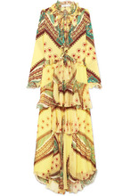 Etro | Etro - Ruffled Printed Silk-crepon And Crepe De Chine Maxi Dress - Yellow | Clouty
