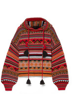 Etro | Etro - Tasseled Wool-blend Jacquard Hoodie - Red | Clouty