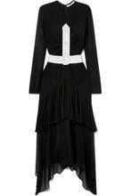 GIVENCHY | Givenchy - Asymmetric Belted Plisse Silk-chiffon Midi Dress - Black | Clouty