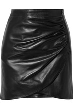 GIVENCHY | Givenchy - Wrap-effect Leather Mini Skirt - Black | Clouty