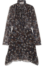See by Chloé   See By Chloe - Pussy-bow Printed Georgette Dress - Blue   Clouty