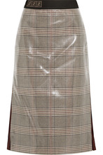 FENDI | Fendi - Prince Of Wales Chiffon-trimmed Checked Glossed-wool Midi Skirt - Gray | Clouty