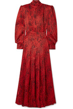 Alessandra Rich | Alessandra Rich - Leopard-print Silk-jacquard Maxi Dress - Red | Clouty
