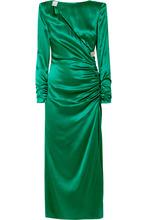 Alessandra Rich | Alessandra Rich - Ruched Crystal-embellished Silk-satin Midi Dress - Emerald | Clouty