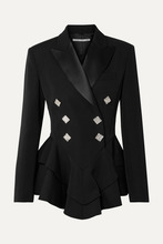 Alessandra Rich | Alessandra Rich - Crystal-embellished Satin-trimmed Wool-crepe Peplum Blazer - Black | Clouty