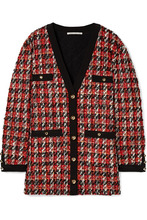 Alessandra Rich | Alessandra Rich - Oversized Boucle-tweed Cardigan - Red | Clouty
