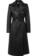 GIVENCHY | Givenchy - Double-breasted Croc-effect Shell Trench Coat - Black | Clouty