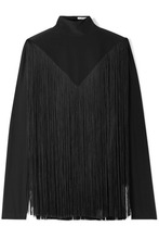 GIVENCHY | Givenchy - Fringed Silk Crepe De Chine Turtleneck Blouse - Black | Clouty