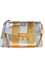 GIVENCHY | Givenchy - Gv3 Small Metallic Watersnake Shoulder Bag - Silver | Clouty