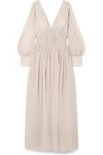 Stella McCartney | Stella McCartney - Carleigh Ruched Silk-georgette Maxi Dress - Off-white | Clouty