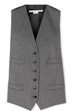 Stella McCartney | Stella McCartney - Satin Jacquard-paneled Wool And Cotton-blend Vest - Black | Clouty