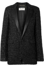 SAINT LAURENT | Saint Laurent - Satin-trimmed Lurex Blazer - Black | Clouty