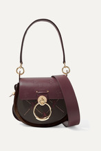 Chloé | Chloe - Tess Small Studded Embroidered Leather And Suede Shoulder Bag - Dark green | Clouty