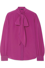Marc Jacobs | Marc Jacobs - Pussy-bow Silk Blouse - Magenta | Clouty