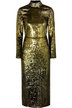 Temperley London   Temperley London - Ruth Open-back Sequined Tulle Midi Dress - Gold   Clouty