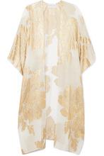 Marie France Van Damme | Marie France Van Damme - Big Flower Babani Metallic Silk-blend Chiffon And Jacquard Kimono - Gold | Clouty