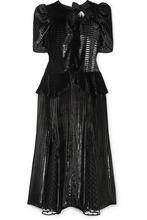 Erdem | Erdem - Diantha Striped Metallic Velvet And Flocked Tulle Midi Dress - Black | Clouty
