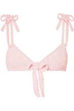 She Made Me | She Made Me - Lalita Crocheted Cotton Bikini Top - Pastel pink | Clouty