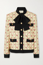 GUCCI | Gucci - Floral-print Silk-marocain Jacket - Ivory | Clouty