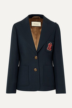 GUCCI | Gucci - + New York Yankees Appliqued Wool And Silk-blend Cady Blazer - Blue | Clouty