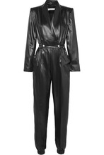 Philosophy di Lorenzo Serafini | Philosophy di Lorenzo Serafini - Double-breasted Faux Leather Jumpsuit - Black | Clouty