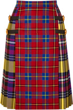 Versace | Versace - Leather-trimmed Tartan Wool Skirt - Red | Clouty