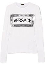 Versace | Versace - Embroidered Stretch-jersey T-shirt - White | Clouty