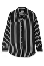Equipment | Equipment - Essential Striped Silk Crepe De Chine Shirt - Black | Clouty