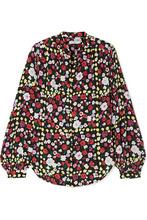 Equipment | Equipment - Cornelia Floral-print Washed-silk Shirt - Black | Clouty