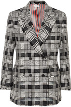 Thom Browne | Thom Browne - Frayed Checked Double-breasted Wool-blend Tweed Blazer - Black | Clouty