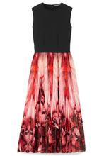 Alexander McQueen | Alexander McQueen - Stretch-jersey And Printed Stretch-knit Midi Dress - Red | Clouty