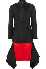 Alexander McQueen | Alexander McQueen - Asymmetric Satin-trimmed Wool-blend Jacket - Black | Clouty