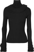 Chloé | Chloe - Ruffled Ribbed Wool Turtleneck Sweater - Black | Clouty