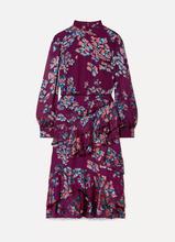 Saloni | Saloni - Isa Ruffled Floral-print Devore-chiffon Midi Dress - Plum | Clouty