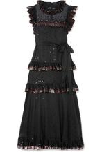 VALENTINO | Valentino - Ruffled Tiered Sequin-embellished Tulle Gown - Black | Clouty
