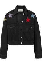 VALENTINO | Valentino - Cropped Embellished Denim Jacket - Dark denim | Clouty