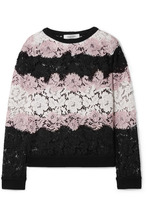 VALENTINO | Valentino - Jersey-trimmed Corded Cotton-blend Lace Sweatshirt - Black | Clouty