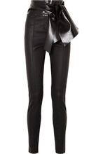 VALENTINO | Valentino - Bow-embellished Stretch-leather Skinny Pants - Black | Clouty