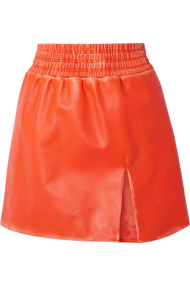 MIU MIU | Miu Miu - Distressed Leather Mini Skirt - Bright orange | Clouty