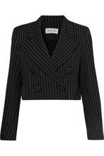 16ARLINGTON   16ARLINGTON - Cropped Pinstriped Twill Blazer - Black   Clouty