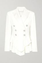 Alessandra Rich | Alessandra Rich - Crystal-embellished Satin-trimmed Wool-crepe Peplum Blazer - Cream | Clouty