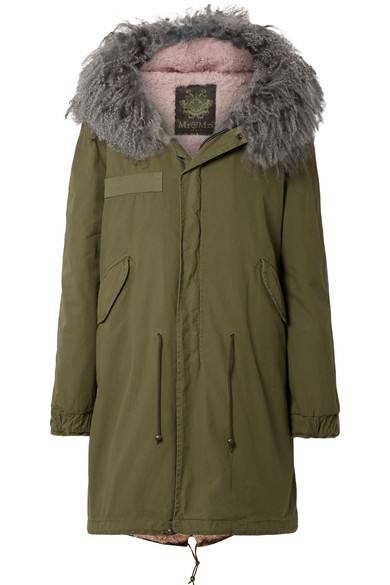 Mr & Mrs Italy   MR & MRS ITALY - Hooded Shearling-lined Cotton-canvas Parka - Army green   Clouty